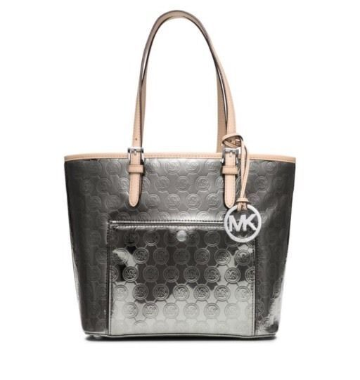 Michael Kors Jet Set Signature Metallic Medium Snap Pocket Tote Nickel