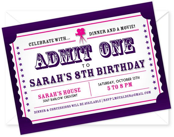 customized and printable movie night birthday party invitation