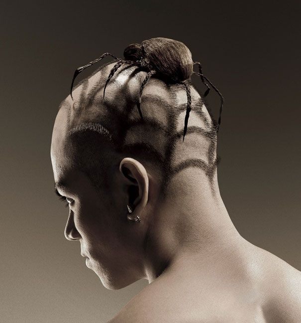 Human Hair Artwork for Adverts spider hair art – Zara Stone Rabinowicz