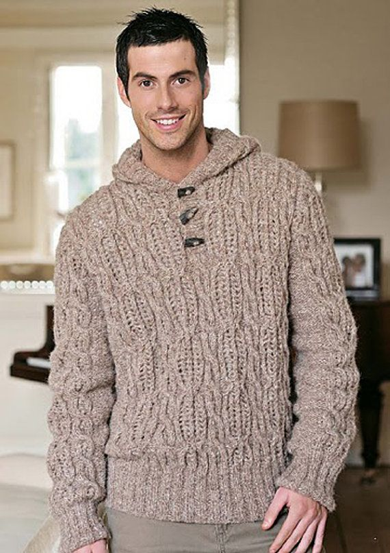 Men's Hand Knit Hoodie Turtleneck Sweater v-neck men crewneck hand ...