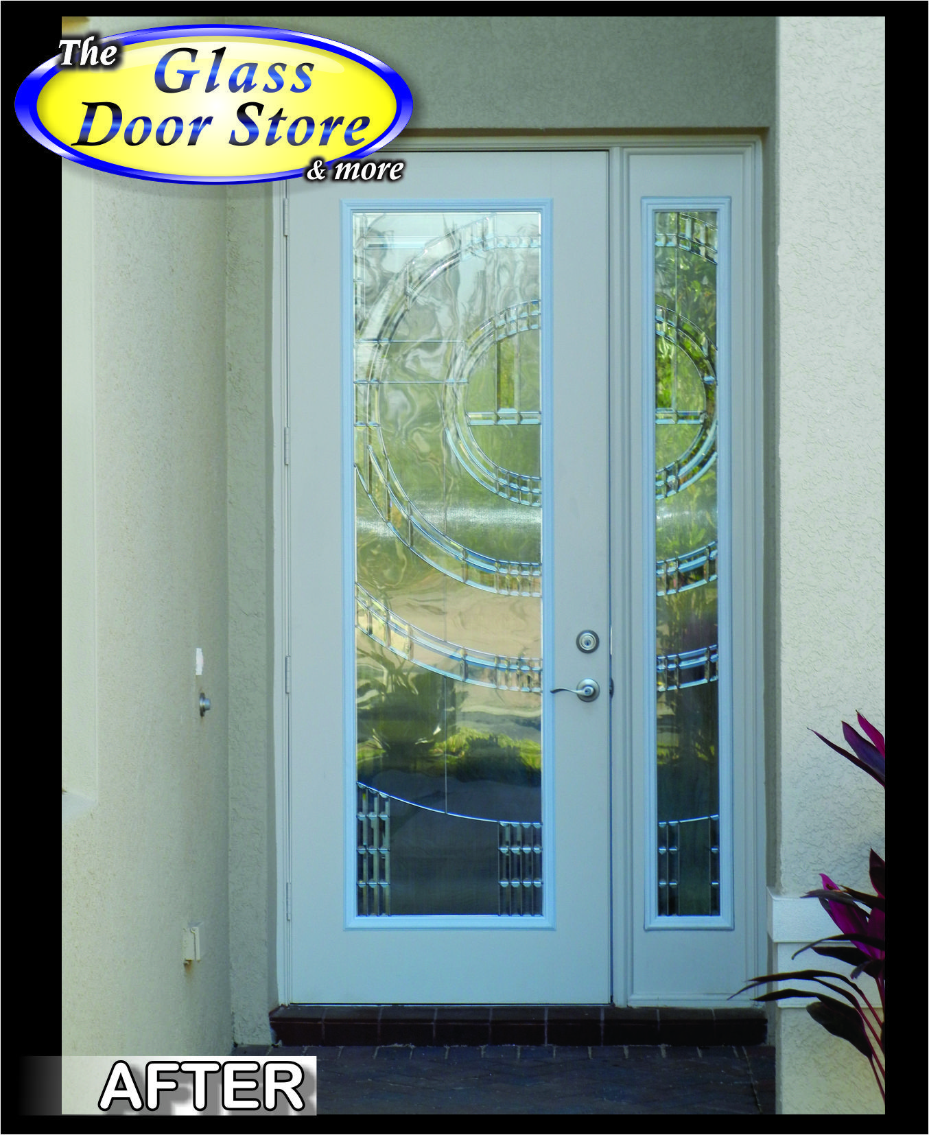 8 ft front door with matching sidelight silver caming in this 8 ft front door with matching sidelight silver caming in this modern glass door insert planetlyrics Gallery