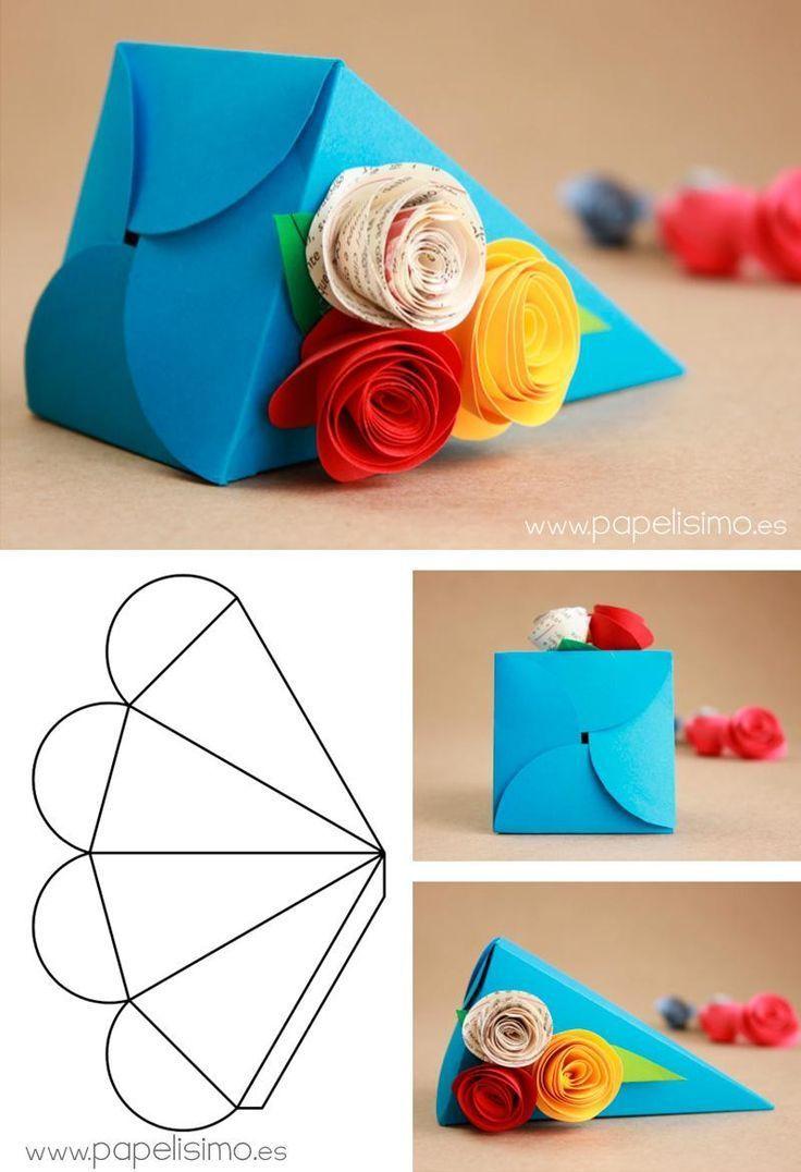 Diy Geschenk Basteln – Pyramidenförmiger Kasten (mit Schablone) – #Kasten #mit #Pyramidenförm…