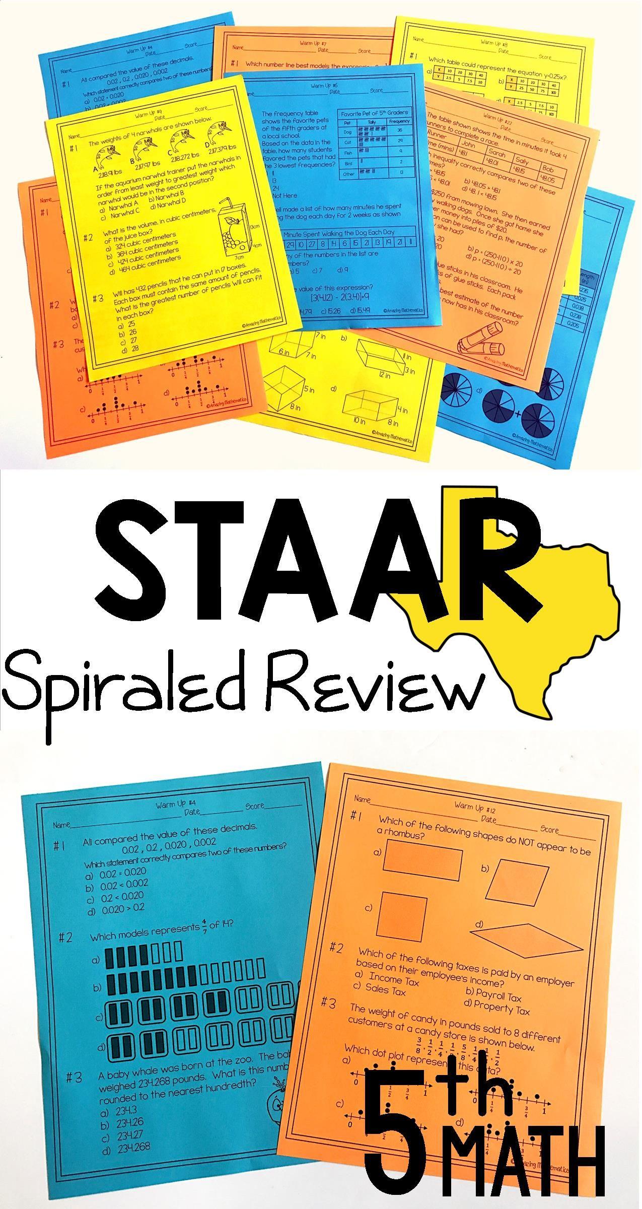 5th Grade Math Warm Ups Staar Review Prep Staar Test Math And