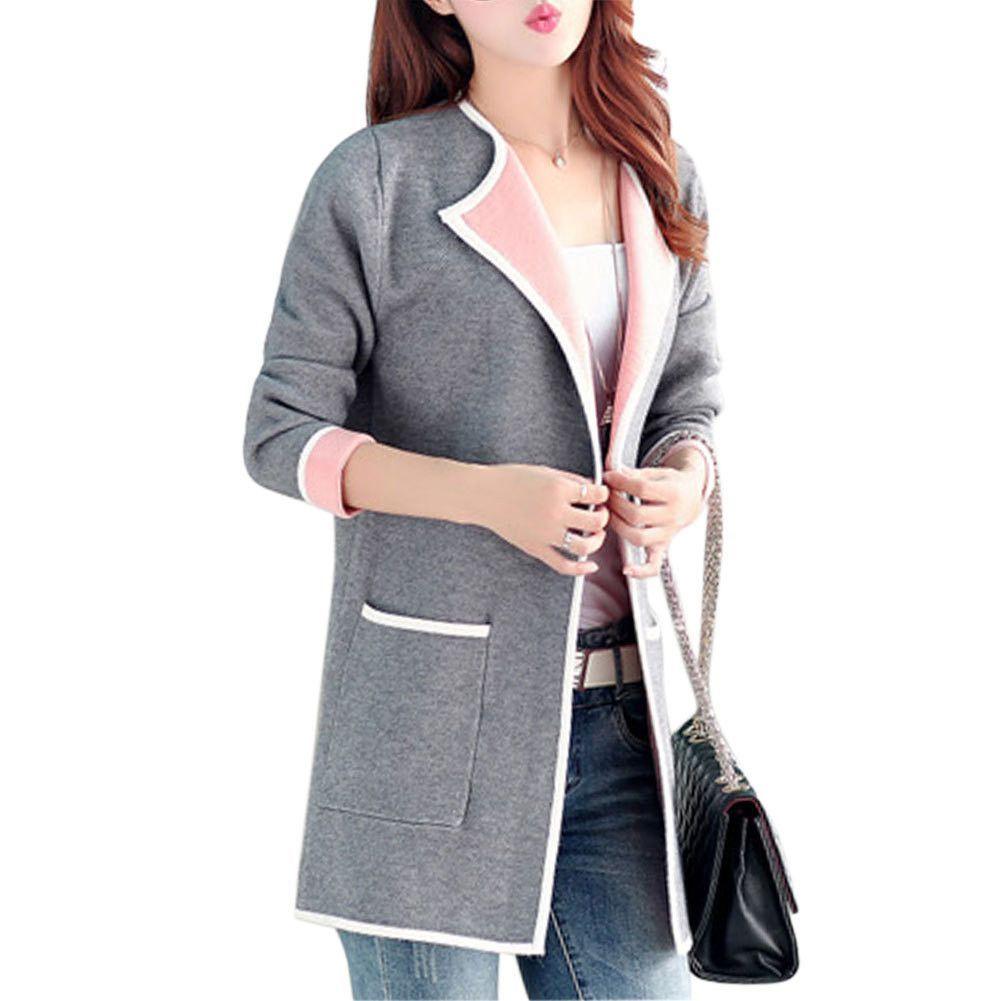 2016 Winter Slim Medium Long Women's Cardigans Coat Long Sleeved ...