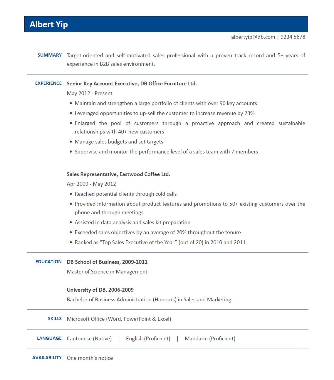 Hong kong resume