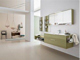 Mueble bajo lavabo lacado suspendido con cajones dress for Bajo gabinete tocador bano de madera