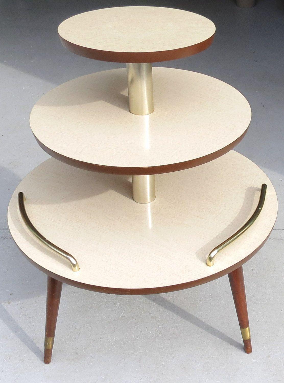Mid Century Modern Ceiling Light Fixture: Three Tier Vintage Mid Century Modern Table NICE. $215.00