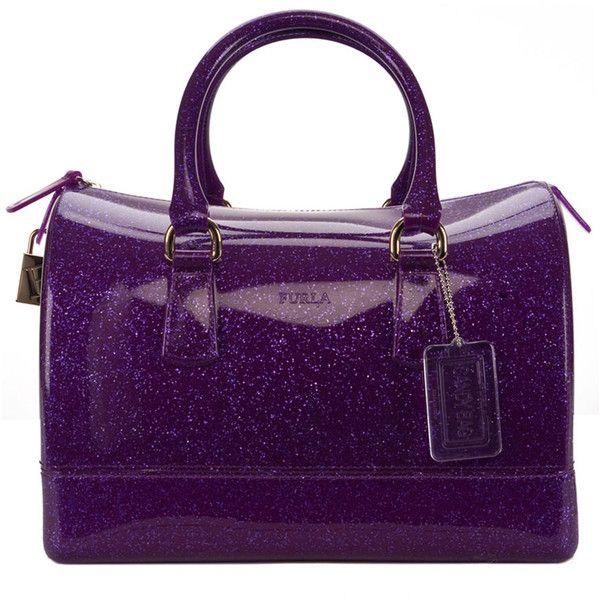 Furla Glitter Candy Satchel ($171) ❤ liked on Polyvore featuring bags, handbags, glitter handbags, purple handbags, lock bag, satchel handbags and furla bags