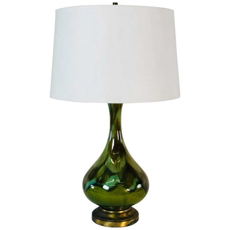1960s Green Drip Glaze Table Lamp Table Lamp Ceramic Lamp Table Lamp Wood