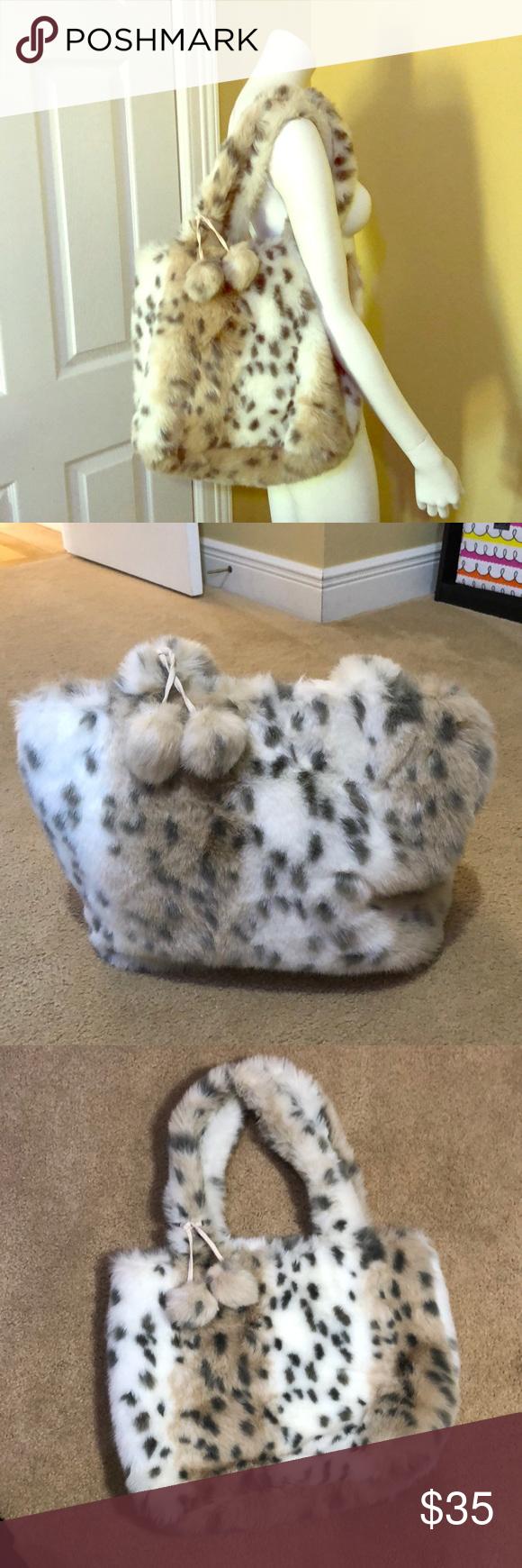 bbd69ca3a3 Pottery barn teen fur snow leopard tote bag