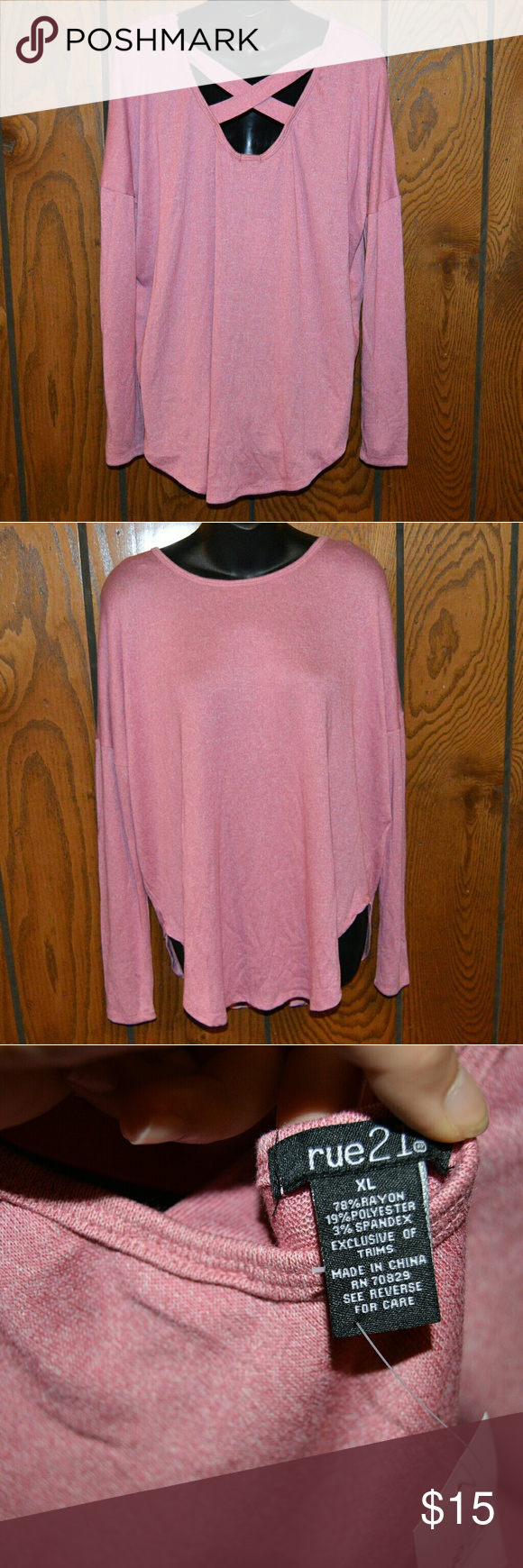 Pink criss cross back top Pretty pink color, nwt attached. Last photo is most true to color. Sweaters Crew & Scoop Necks