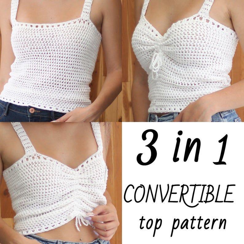 ZARA 3in 1-Convertible top -Crochet pattern-Crochet top pattern-Women crochet pattern-Crop top pattern- Beach cover-up, Festival top- XS-XXL