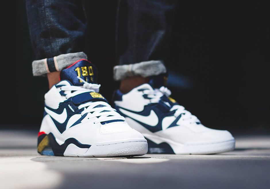 "the best attitude 92af7 e6915 NIKE AIR FORCE 180 ""OLYMPIC"" Color WhiteMidnight Navy-Metallic  Gold-Varsity Red"