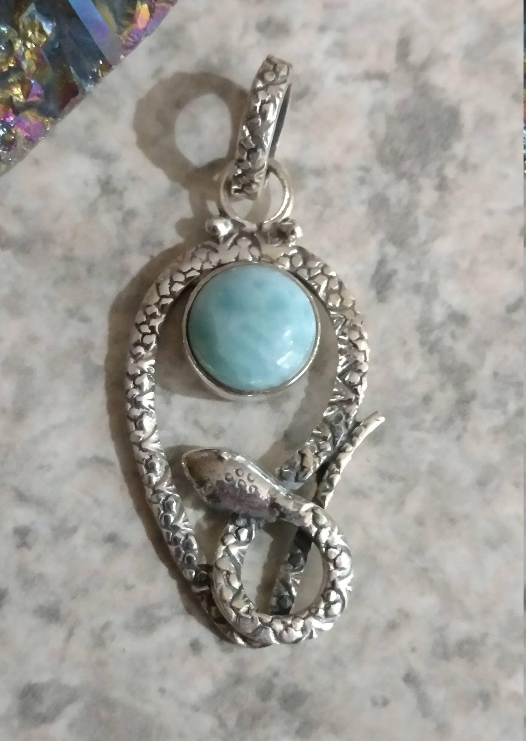 Snake larimar pendant necklace etsy collares y serpientes snake larimar pendant necklace aloadofball Gallery