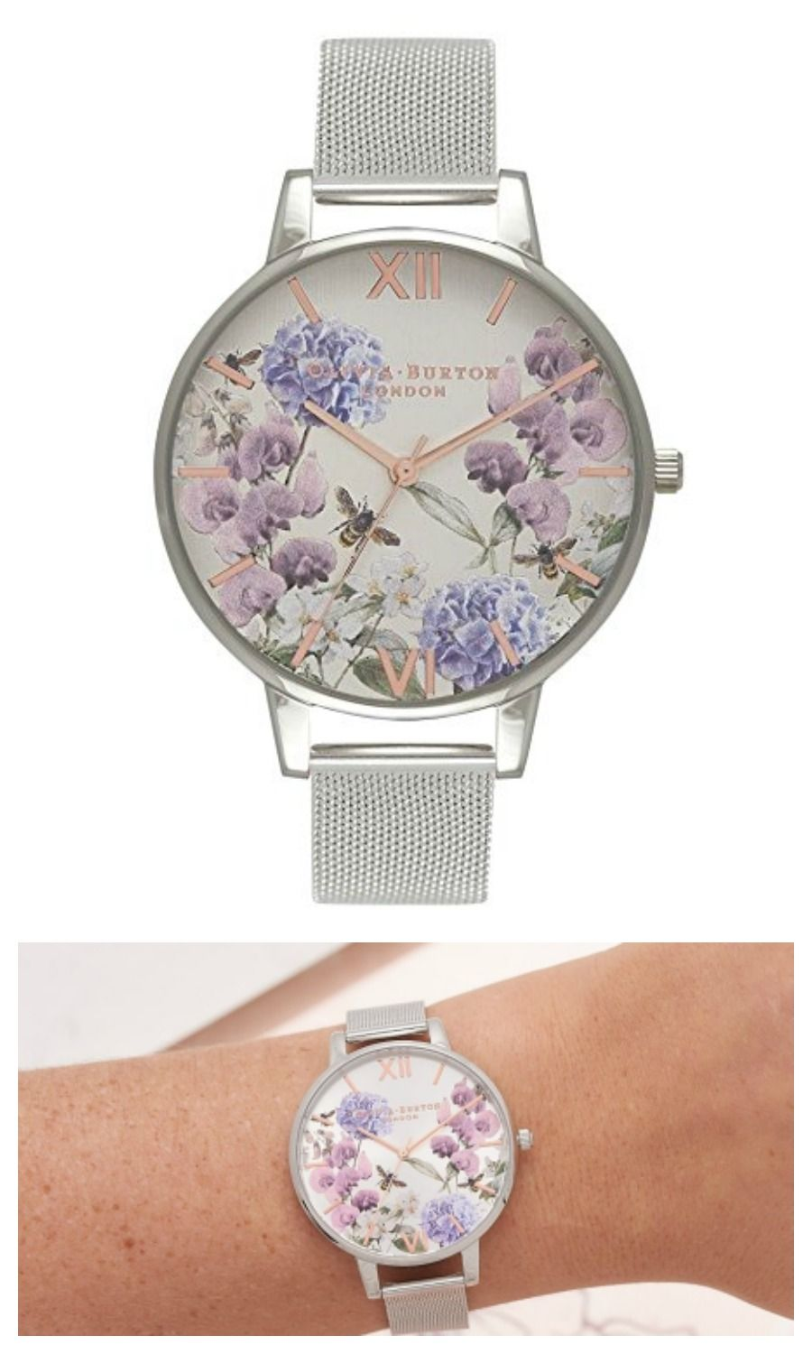 68335e93dc27 Parlour Bee Floral Silver Mesh watch Olivia Burton  ad  bee  watch ...