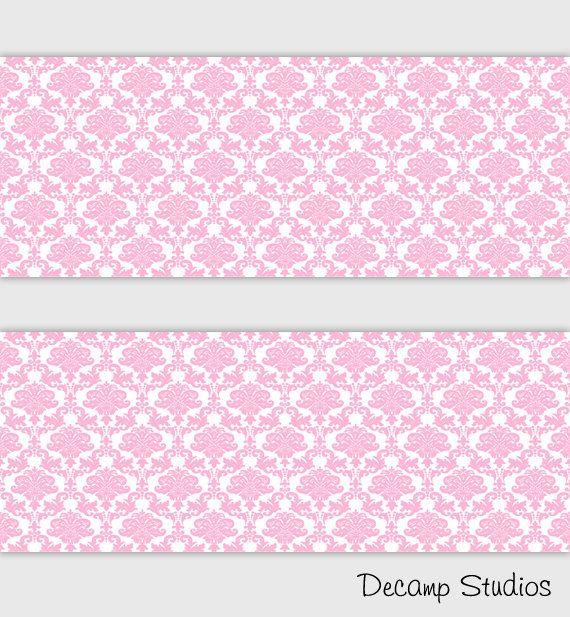 Princess Girls Room Pink Damask Wallpaper Border Wall Art Decals Baby Nursery Stickers Kids Room Decor Pink Damask Wallpaper Room Stickers Decal Wall Art
