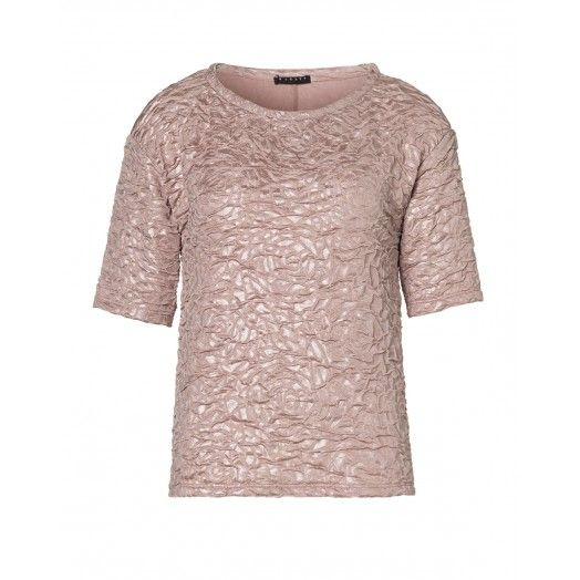Blusa, in jersey goffrato stampato effetto motivo a rose.3B2RL113M PINK