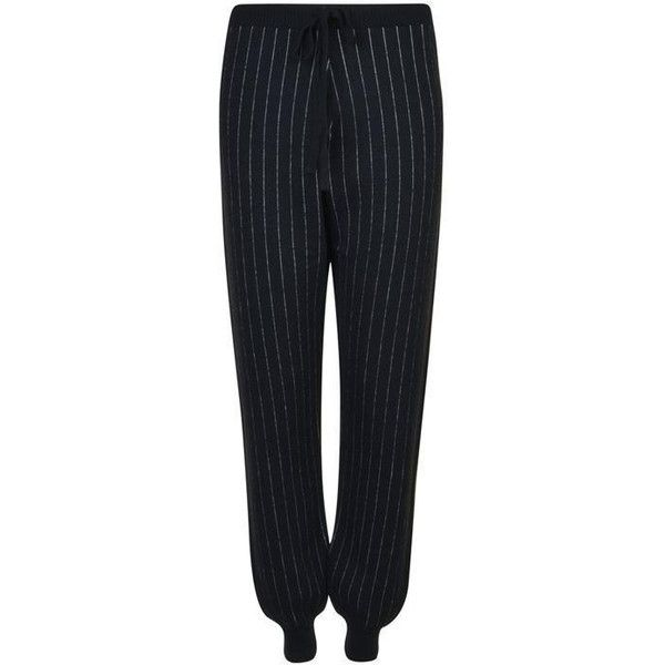 Ashley Williams X John Smedley Pinstripe Joggers ($390) ❤ liked on Polyvore featuring activewear, activewear pants and black