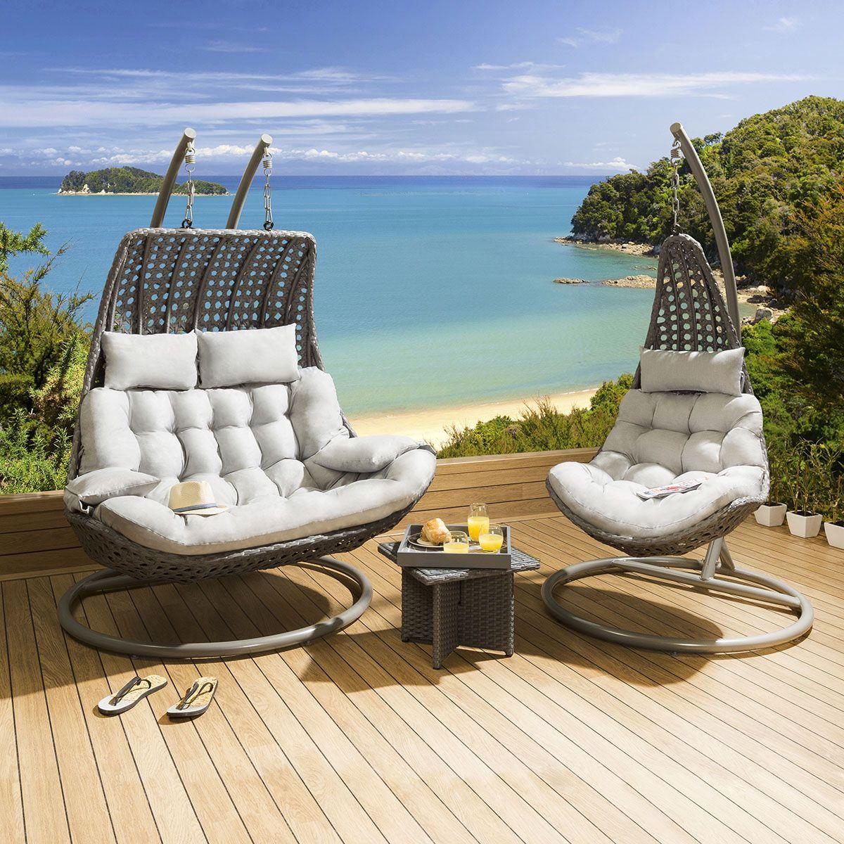 Outdoor Garden Hanging Chair Set Grey Rattan / Silver ...