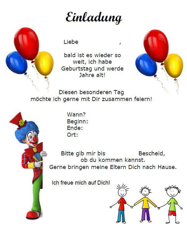 Muster Einladung Kindergeburtstag