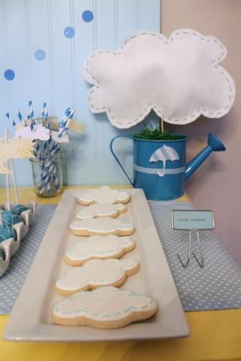 April Showers- the clouds look simple to make. Love the watering cans.