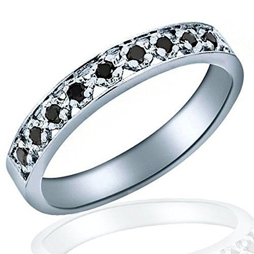 Introducing 10K White Gold Black Diamond Wedding Anniversary Band Ring size 6 16 ctw. Get Your Ladies Products Here and follow us for more updates!