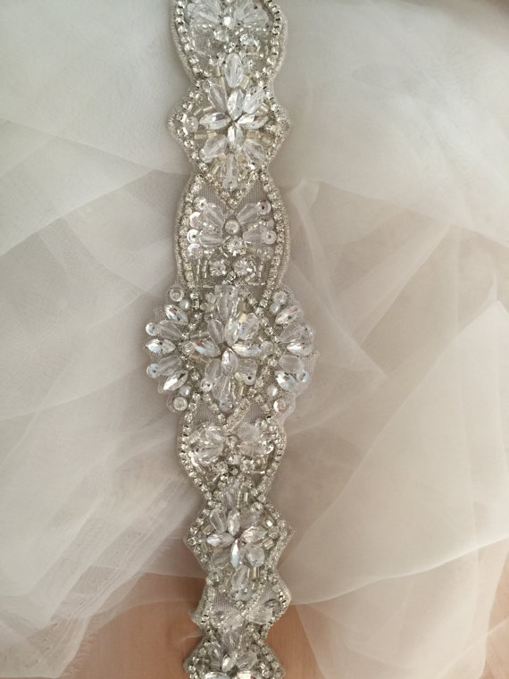Gold//Silver Rhinestone Crystal White//Ivory Ribbon Applique Wedding Headband