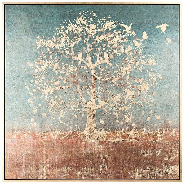 Golden Bird Tree Large Framed Canvas Art Print ($160) ❤ liked on ...