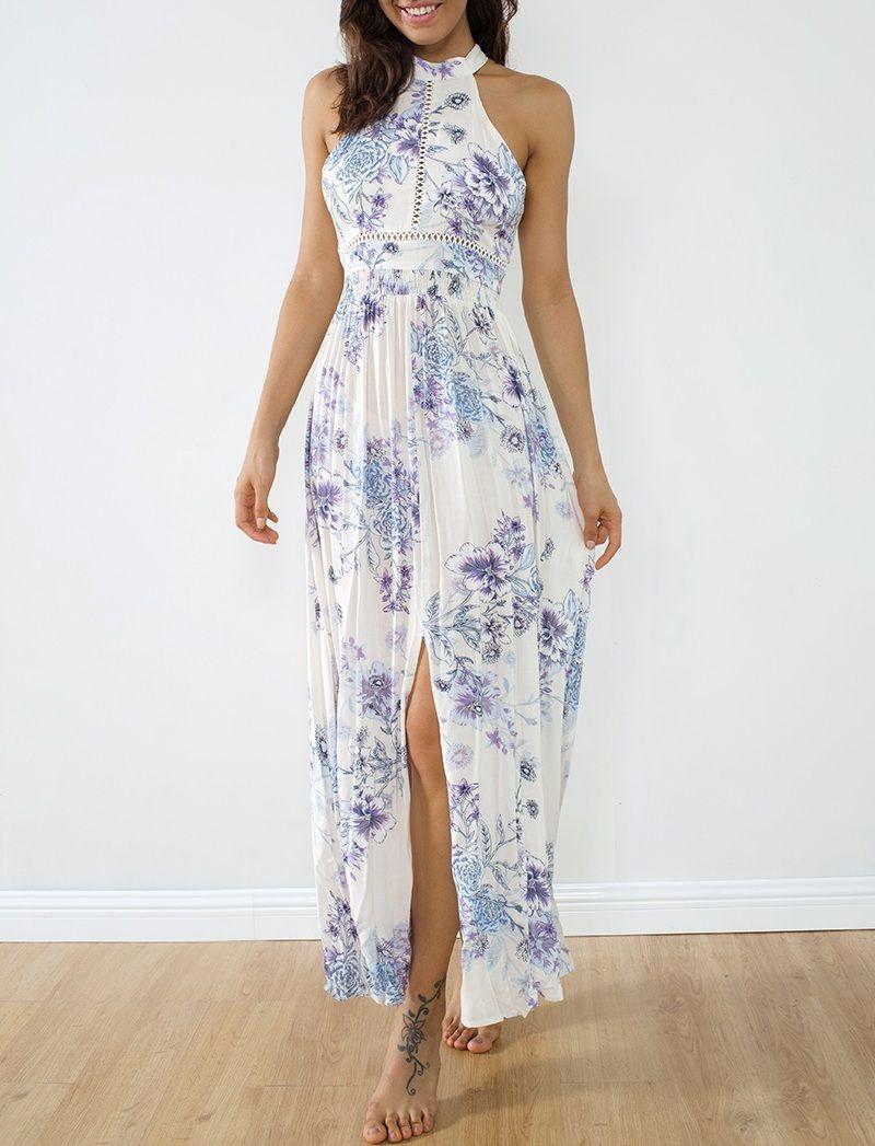 b78a31d1939 CLICK   BUY  ) Long lavender blue white floral slit maxi summer dress neck  women flowers