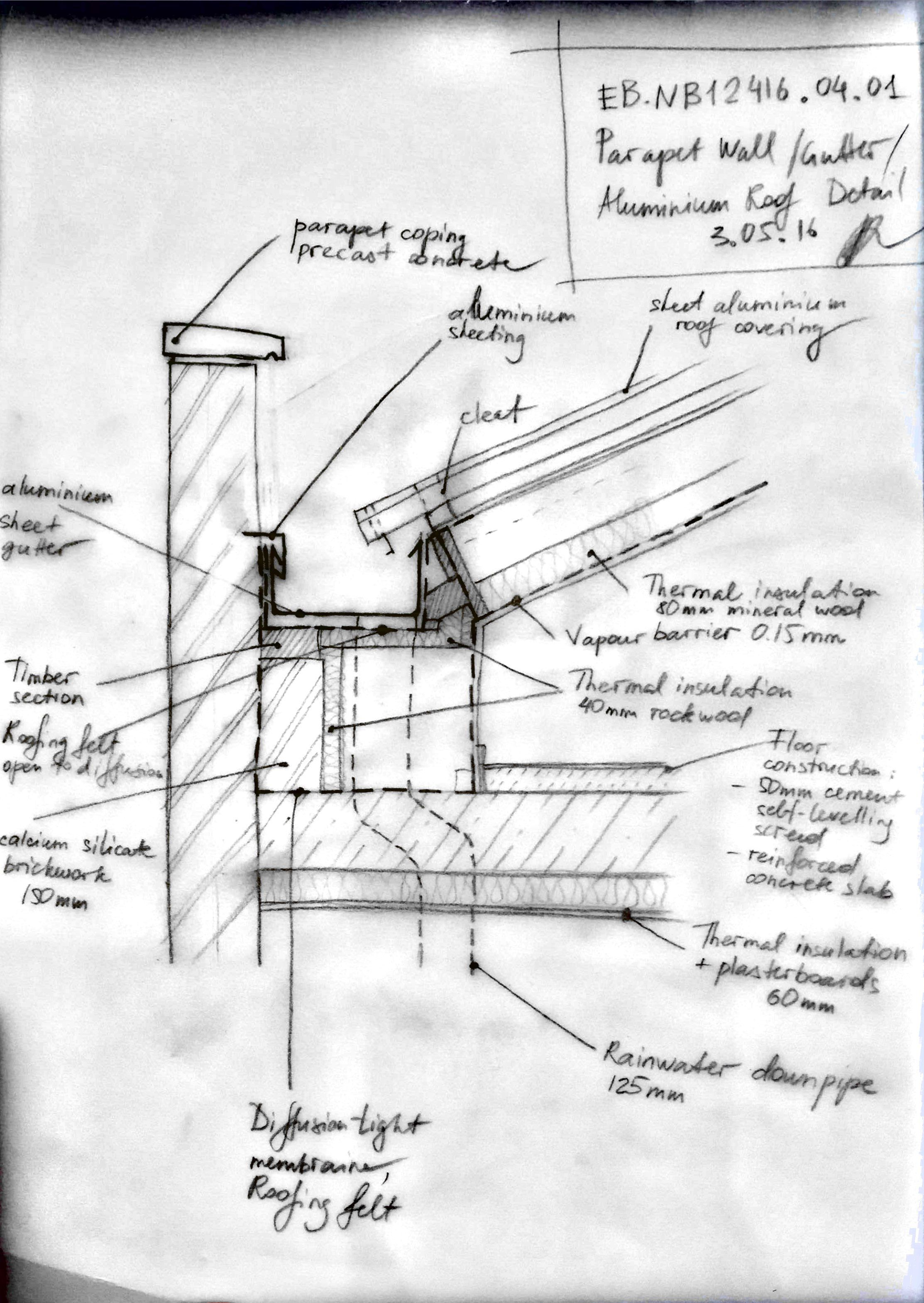 Parapet Wall Detail Sketch In 2020 Parapet Roof Detail Green Roof