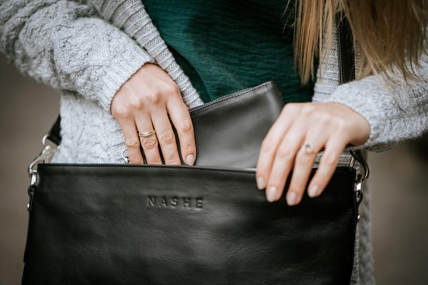 Elegancka Skorzana Torba Do Biura Czarna Leather Workshop Office Bag Bags