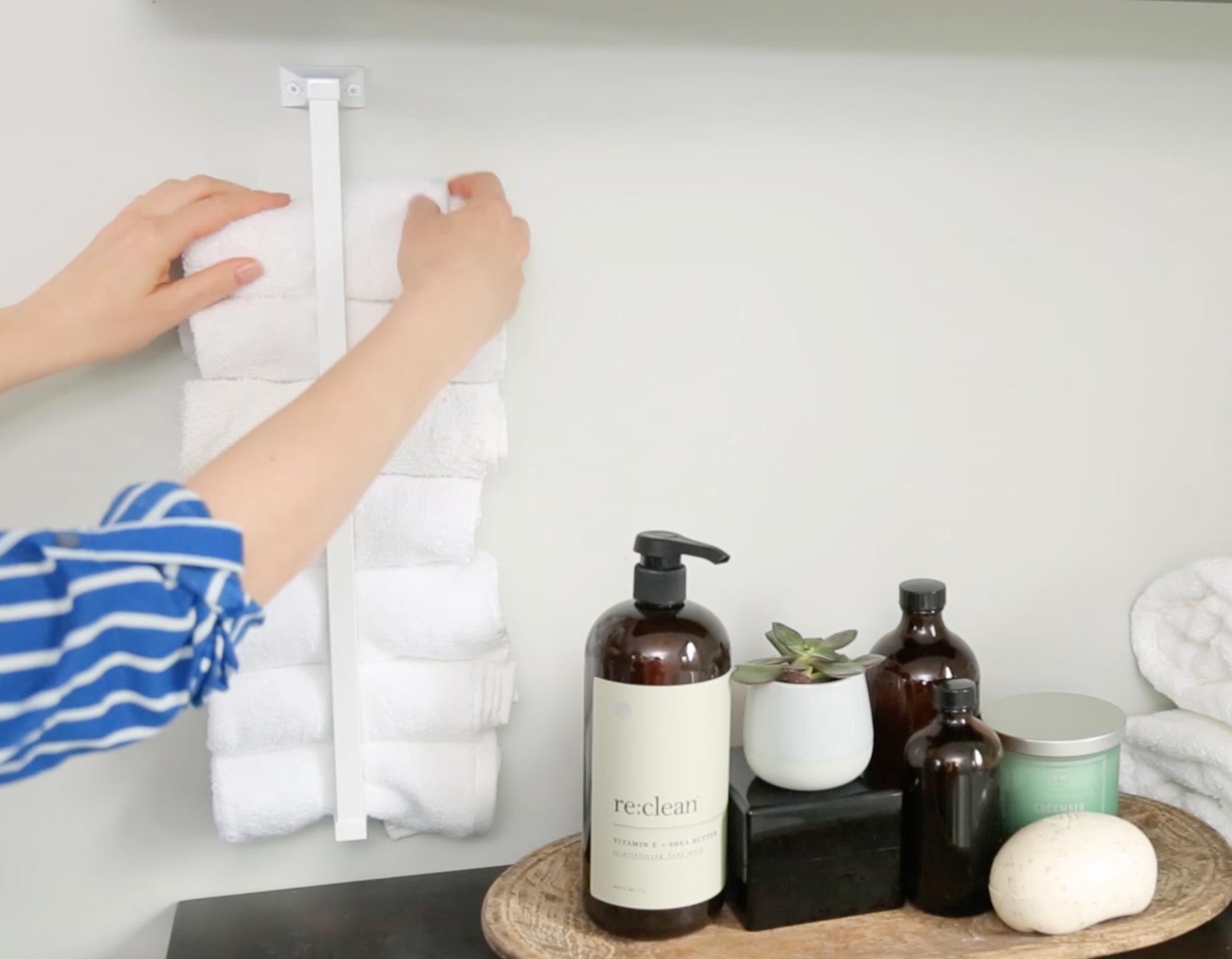 Neat Freak Diy Hand Towel Holder Bathroom Storage Solutions Clever Storage Solutions Neat Freak