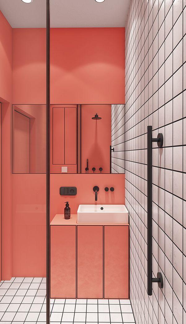Salle de bains avec couleurs vives sur une partie des murs et