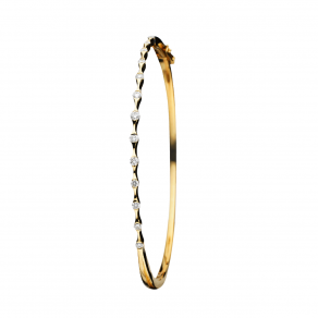 Wave 18k Yellow Gold Diamond Bangle Bracelet - Hamilton Jewelers