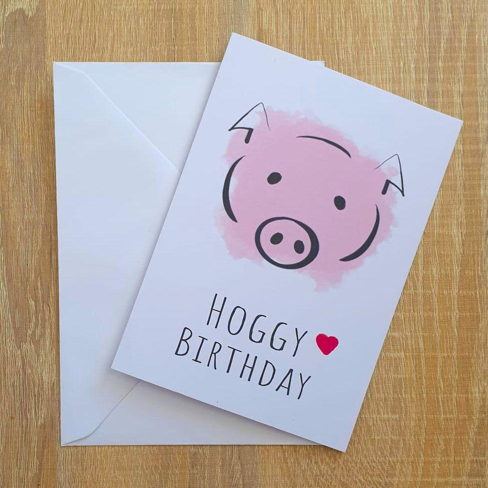 Pig Greetings Card Hoggy Birthday Recycled Card Etsy Greeting Card Illustration Card Illustration Birthday Cards