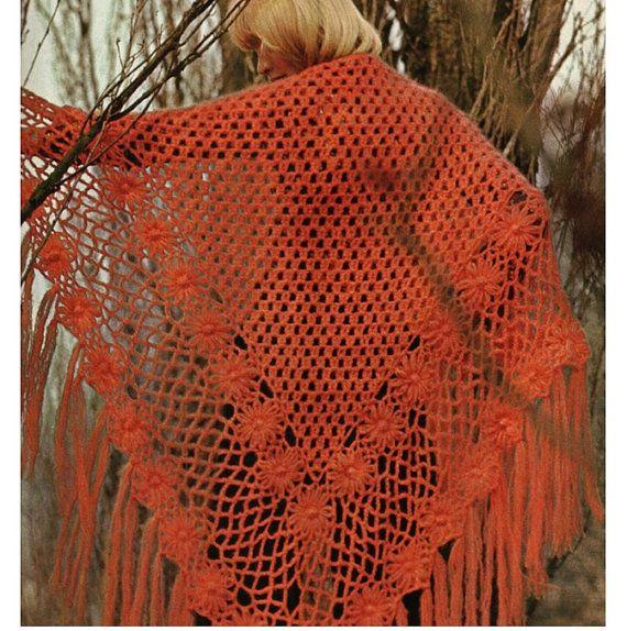 Crochet Shawl Pattern Vintage 70s Crochet Poncho Pattern Crochet ...