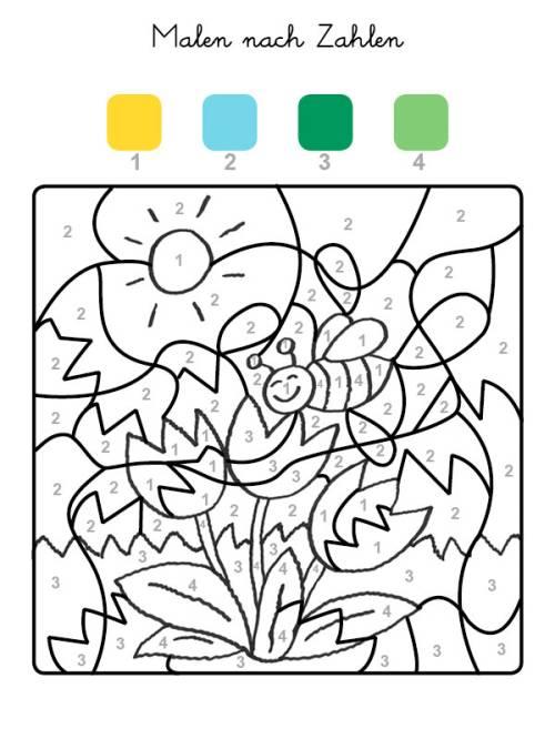kostenlose malvorlage malen nach zahlen tulpen ausmalen