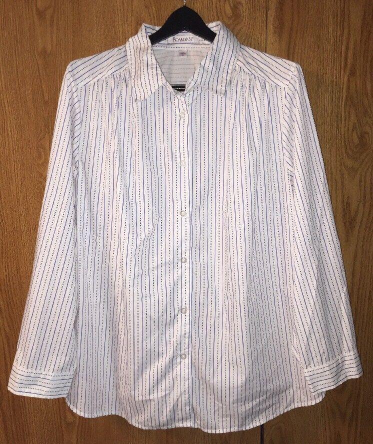 c3dea48f118 ROAMAN S Plus Size 1X Top Blue   White Striped Shirt Long Sleeve Button  Front