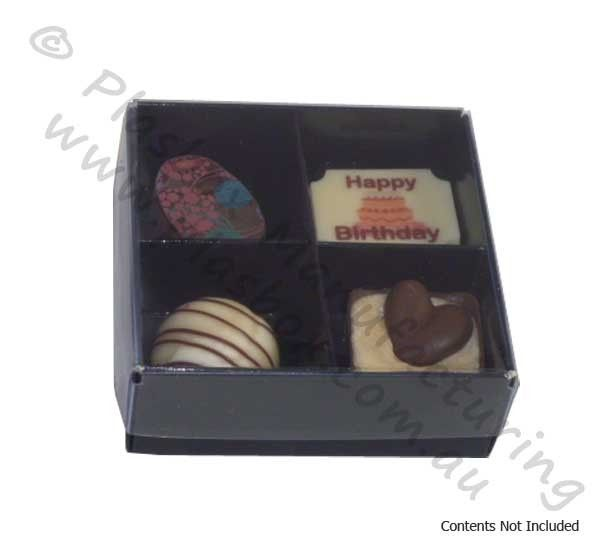 Chocolate Box Four Cavity with Black Base and Clear Lid