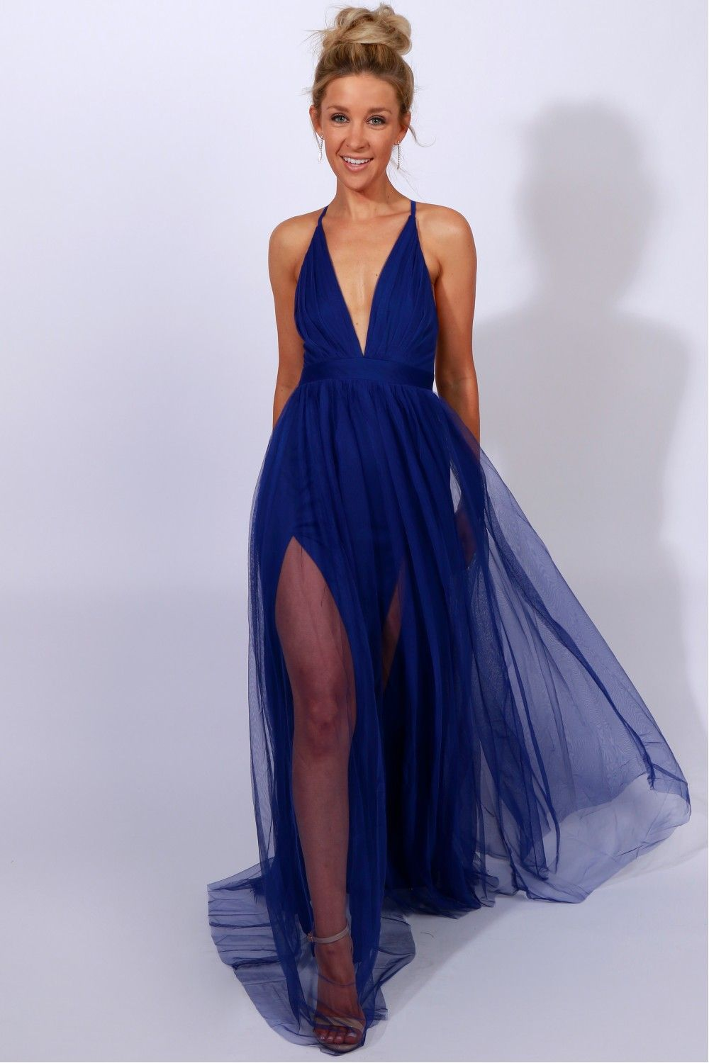 7e4c2decb8 Sheer Mesh Maxi Dress Blue A maxi dress with a sheer mesh overlay featuring  adjustable straps