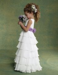 I THINK I FOUND THEIR DRESSES!!!!!!  They will just float down the aisle in these!!! xoxo   Burnt Orange or Black Sash!  Jordan Sweet Beginnings Flowergirl Dresses - Style L503