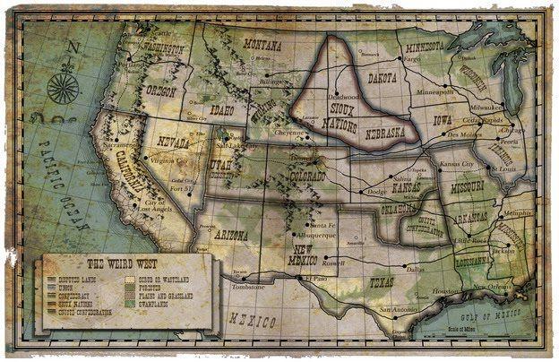 Deadlands California Map.Deadlands The Weird West Rpg In 2019 West Map Map Rpg