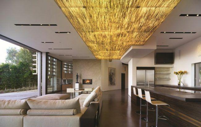 deckengestaltung moderne gold kueche lampen fussboden braun