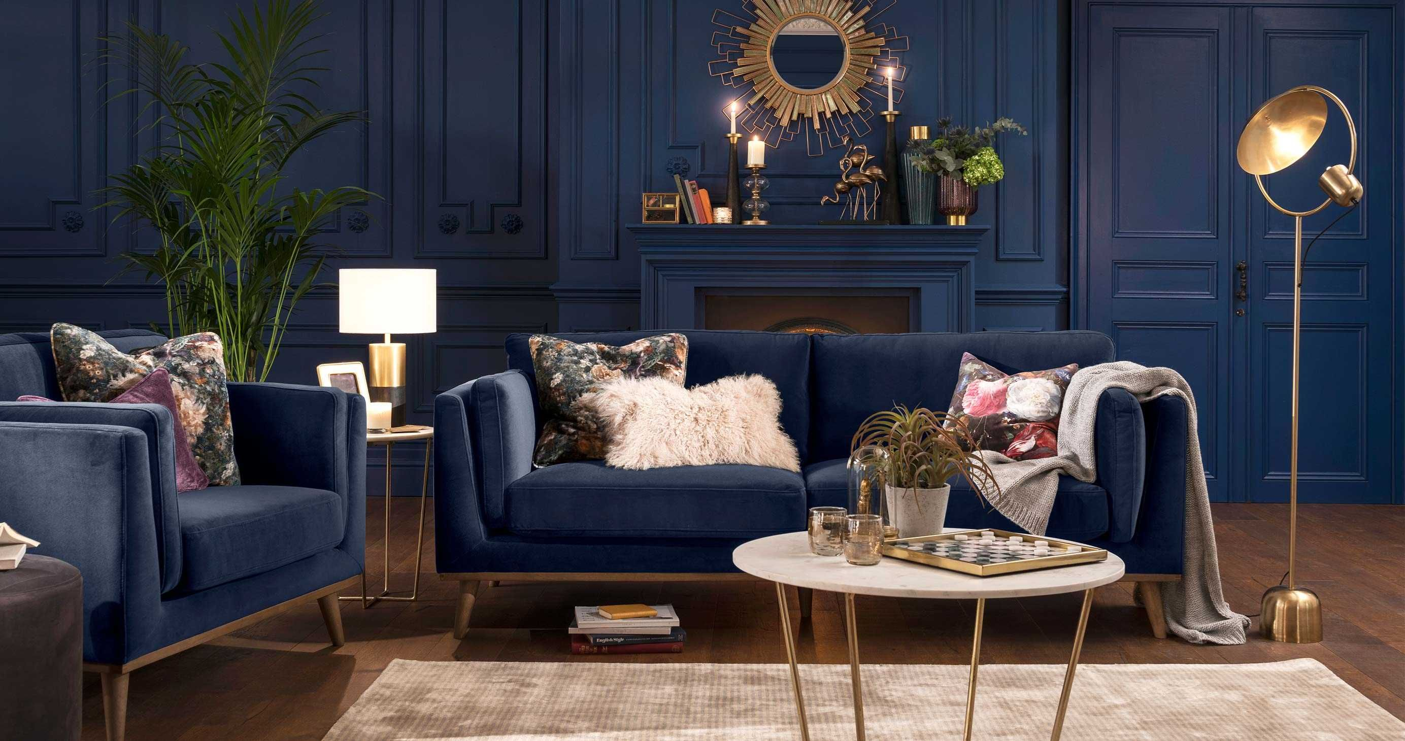 Abode Panache 3 Seater Sofa Blue Sofa Living Blue Living Room Color Navy Sofa Living Room