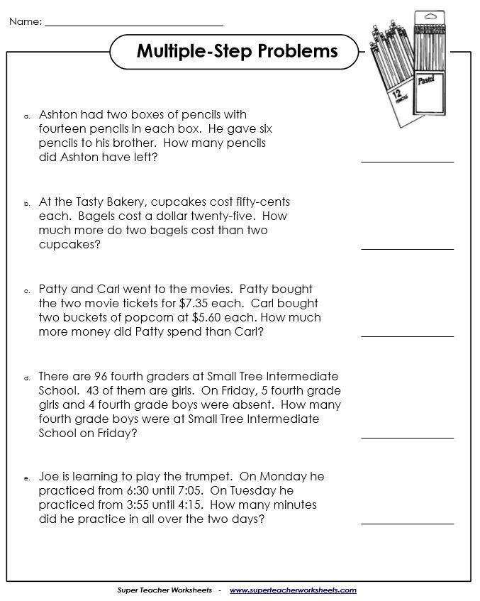 Multiple Step Word Problems Word Problem Worksheets