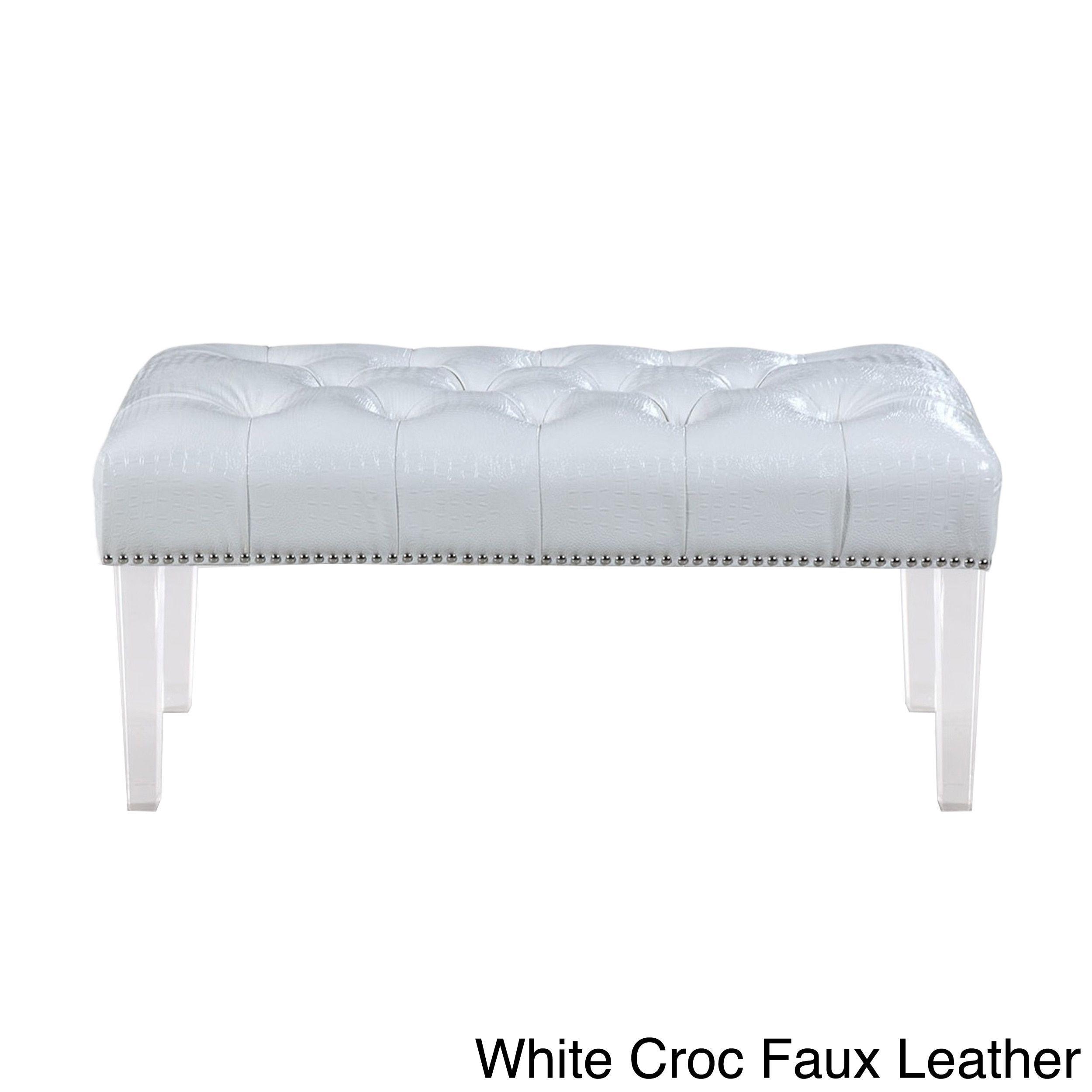 Terrific Chic Home Odette Button Tufted Nailhead Ottoman Bench Theyellowbook Wood Chair Design Ideas Theyellowbookinfo