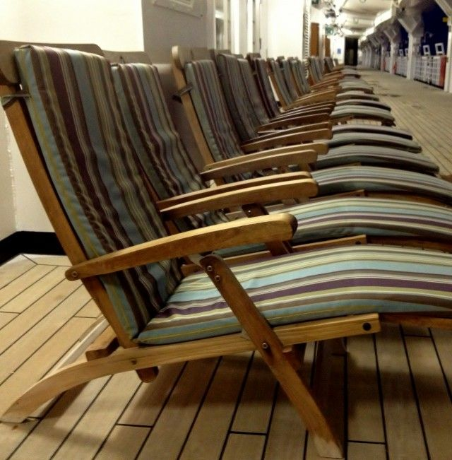 Teak Deck Chairs On The Nieuw Amsterdam Promenade Via @cruisemaven.  #DeckChairs