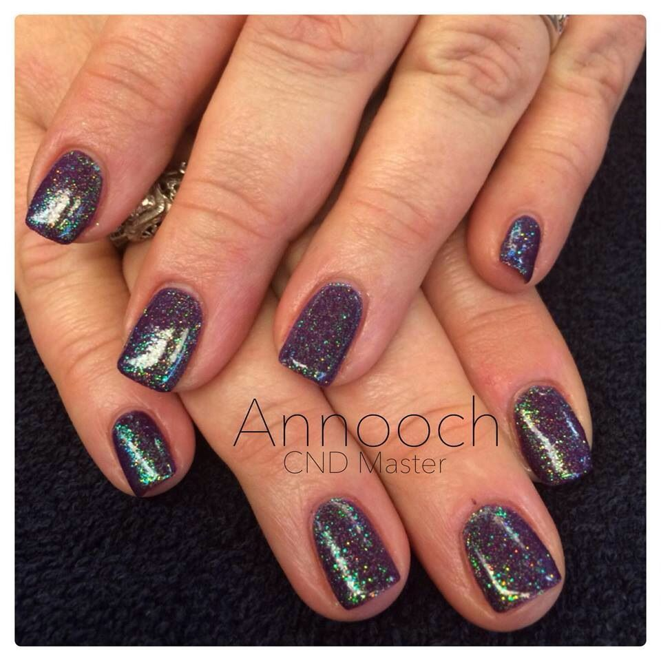 CND Shellac Rick Royalty with iridescent glitter | CND Nails | Pinterest