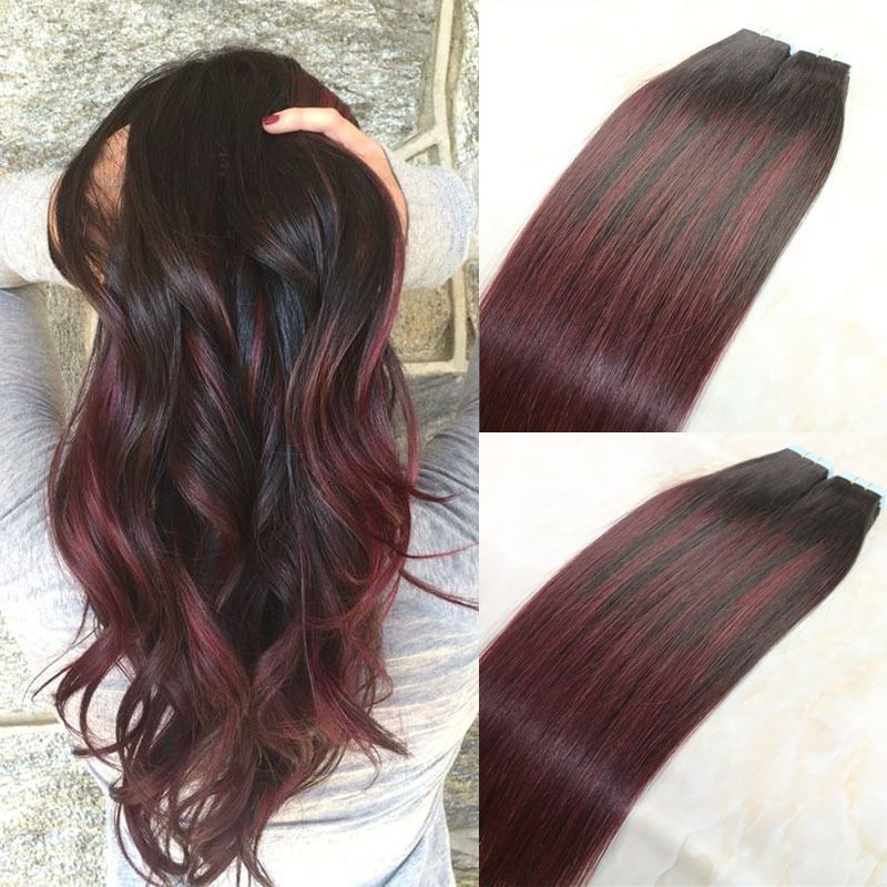 Tape Hair Extensions Human Hair Ombre Balayage 1b 99j Burgundy Red