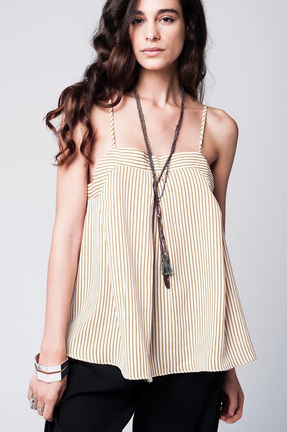 Cami brown and cream stripe top